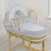 4baby Palm Moses Basket - Dimple Grey