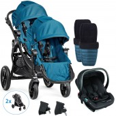 Baby Jogger City Select Tandem Travel System With Footmuffs & Raincovers - Teal
