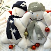 Clair De Lune Christmas Snowman Cuddly Toy - Navy