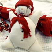 Clair De Lune Christmas Snowman Cuddly Toy - Red