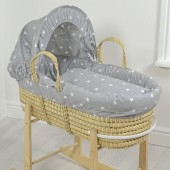 4baby Palm Moses Basket - Grey / White Stars