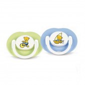 Philips Avent Silicone Soother / Pacifier / Dummy 3-6 Months (Pack of 2) - Teddy Bears (Blue / Green)