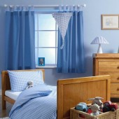 Baroo Tab Top Childrens Nursery Curtains - Blue Gingham