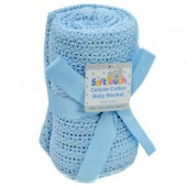 Soft Touch Cellular Pram / Crib / Moses Blanket - Blue