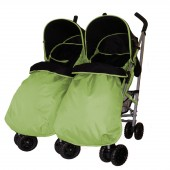 4Baby Apollo Twin Pushchair + 2 Footmuffs - Lime / Black