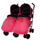 4Baby Apollo Twin Pushchair + 2 Footmuffs - Pink / Black