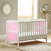 4Baby Classic Cot Bed With Fibre Mattress - White / Pink