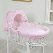 4Baby Luxury Padded White Wicker Baby Moses Basket - Pink Waffle