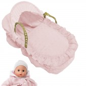 4Baby Dolls Luxury Broderie Anglaise Moses Basket - Pink