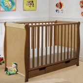 4Baby Sleigh Cot With Drawer - Beech