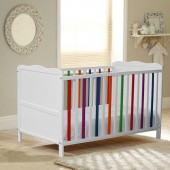 4Baby Vivid Cot Bed With Fibre Mattress - White / Multicoloured