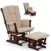 Hauck Glider / Rocking Nursing Chair & Stool - Walnut / Beige