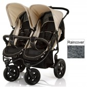 Hauck Roadster Duo Twin Pushchair With Raincover - Almond / Caviar
