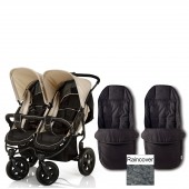 Hauck Roadster Duo Twin Pushchair with Accessories - Almond / Caviar