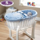 Obaby Deluxe Padded White Wicker B Is Bear Moses Basket - Blue