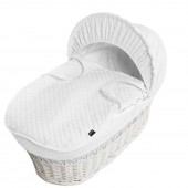 Isabella Alicia Padded White Wicker Baby Moses Basket - Popcorn Dimple White