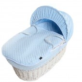 Isabella Alicia Padded White Wicker Baby Moses Basket - Popcorn Dimple Blue