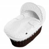 Isabella Alicia Padded Dark Wicker Baby Moses Basket - Popcorn Dimple White