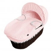 Isabella Alicia Padded Dark Wicker Baby Moses Basket - Popcorn Dimple Pink