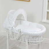 4Baby Luxury Padded White Wicker Baby Moses Basket - White Dimple