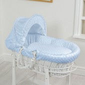 4Baby Luxury Padded White Wicker Baby Moses Basket - Blue Dimple