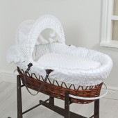 4Baby Luxury Padded Dark Wicker Baby Moses Basket - White Dimple