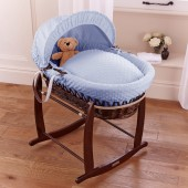 4Baby Deluxe Padded Dark Wicker Moses Basket + Deluxe Rocking Stand - Dimple Blue