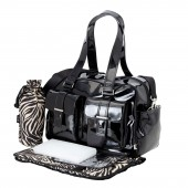 OiOi Patent Leather Carryall Baby Changing Bag - Black Zebra