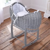 4baby Grey Wicker Noah Pod & Deluxe Rocking Stand - White Dimple