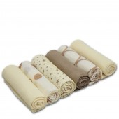 4baby Cotton Muslin Squares (6 Pack) Mixed Designs - Cream