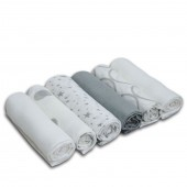 4baby Cotton Muslin Squares (6 Pack) Mixed Designs - Silver