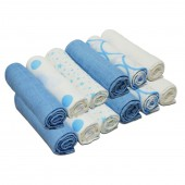 4baby Cotton Muslin Squares (12 Pack) Mixed Designs - Blue