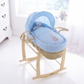 Clair De Lune Tippy Tumble Palm Moses Basket & Rocking Stand - Blue