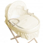 Isabella Alicia Maize Baby Moses Basket - Broderie Anglaise Cream