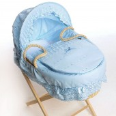 Isabella Alicia Maize Baby Moses Basket - Broderie Anglaise Blue