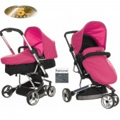 Obaby Chase 3 Wheel 2 in 1 Pramette - Black / Pink