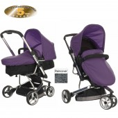 Obaby Chase 3 Wheel 2 in 1 Pramette - Black / Purple