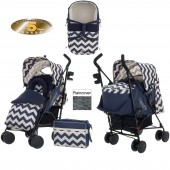 Obaby Zeal Stroller With Carrycot - ZigZag Navy