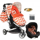 Obaby Chase Stroller Travel System - ZigZag Orange