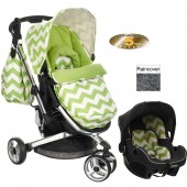 Obaby Chase Stroller Travel System - ZigZag Lime