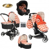 Obaby Chase Stroller Travel System With Carrycot - ZigZag Orange