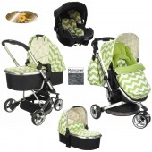 Obaby Chase Stroller Travel System With Carrycot - ZigZag Lime
