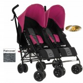 Obaby Apollo Grey Stripe Twin Stroller - Pink