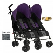 Obaby Apollo Grey Stripe Twin Stroller - Purple