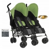 Obaby Apollo Grey Stripe Twin Stroller - Lime
