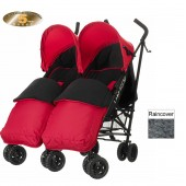 Obaby Apollo Grey Stripe Twin Stroller With Footmuffs - Red