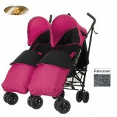 Obaby Apollo Grey Stripe Twin Stroller With Footmuffs - Pink