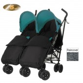 Obaby Apollo Grey Stripe Twin Stroller With Footmuffs - Turquoise