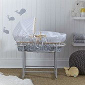 Clair De Lune Deluxe Padded Grey Wicker Baby Moses Basket - Whales