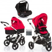 ABC Design Cobra 3 in 1 Travel System & Carrycot - Silver / Cranberry